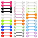 Lcolyoli 36Pcs 14G Glow in Dark Flexible Bioflex Acrylic Straight Tongue Barbell Nipple Ring Nipplerings Retainer Piercing Jewelry for Women Men 16mm Bar