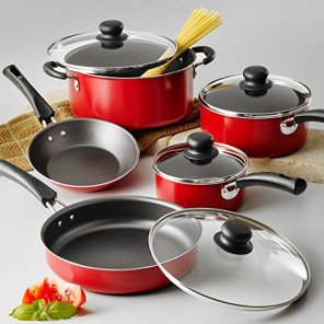 9-Piece-Red-Simple-Cooking-Nonstick-Stay-Cool-Handles-Riveted-Heat-And-Shatter-Resistant-Tempered-Glass-Lids-Dishwasher-Safe-Cookware-Set