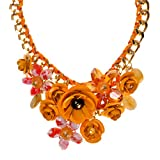 ZLYC Women Fashion Gold Tone Personalized Flowers Necklace Frontal Floral Bib Choker, Yellow