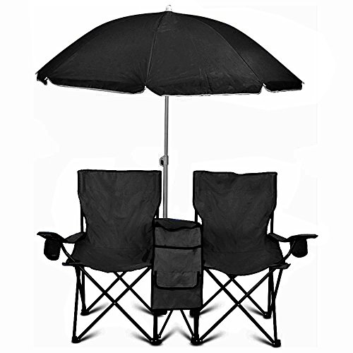 GoTeam Portable Double Folding Chair w/Removable Umbrella, Cooler Bag and Carry Case - Black