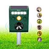 ZOVENCHI Solar Ultrasonic Animal Repeller, Waterproof Solar Animal Repeller Rodent and Pest Repeller Cats, Dogs, Mice, Squirrel Repellent, Motion Activated with Flashing LED Light ...