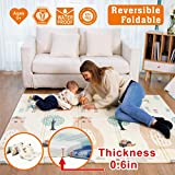 Thick Baby Playmat, Baby mat, Extra Large Foldble Crawling Playmat, Skidproof Soft Cushioned Floor Mat for Infants, Non-Toxic Waterproof Reversible Crawling Yoga Gym Mat (71''X 79''X 0.6'')