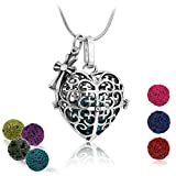 "Maromalife Essential Oil Diffuser Pendant Necklace Lava Stone Diffuser Necklace with 24"" Snake Chain and 7 Lava Beads"