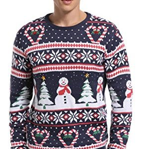 *daisysboutique***** Men's Christmas Holiday Snowman and Tree Ugly Sweater Cute Pullover