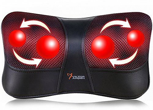 Shiatsu Back and Neck Massager - VIKTOR JURGEN Deep Tissue Kneading Neck Massage Pillow with Heat for Full Body Muscle, Shoulder, Foot at Home/Car/Office - Relaxation Gifts for Men/Women