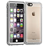 CellEver iPhone 6 / 6s Case Waterproof Shockproof IP68 Certified SandProof Snowproof Full Body Protective Cover Fits Apple iPhone 6 and iPhone 6s (4.7') - Clear White/Gray
