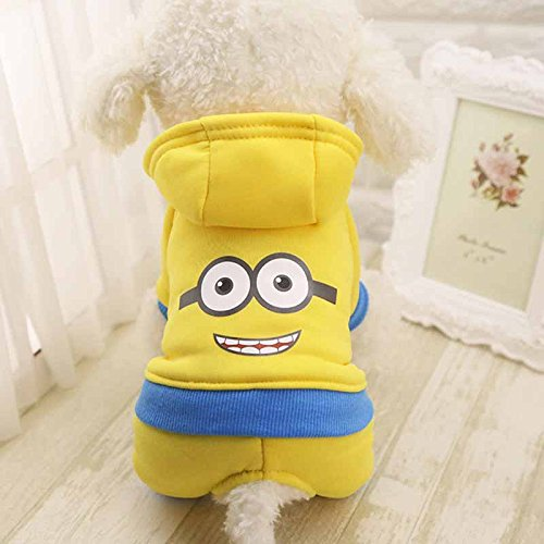 Pet Costume Coat For Small Dogs and Cats - Fall, Winter and Spring Season (Medium, Yellow Minions)