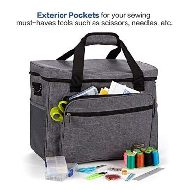 HOMEST-Universal-Sewing-Machine-Case-with-Multiple-Pockets-for-Sewing-Notions-Tote-Bag-Compatible-with-Singer-Quantum-Stylist-9960-Singer-Heavy-Duty-4423-Grey
