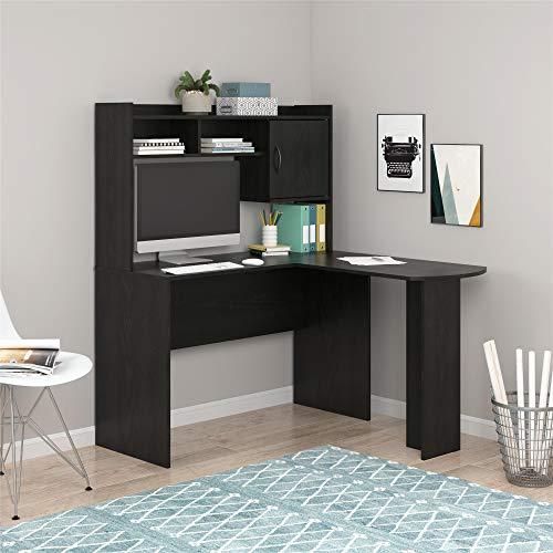 Mainstays Student Desk - Home Office Bedroom Furniture Indoor Desk - Easy Glide Accessory Drawer (Desk Only, Rodeo Oak) (L-Shaped Desk, Black Oak)
