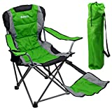Outdoor Quad Camping Chair - Lightweight, Portable Folding Design - Adjustable Footrest, Cup Holder, Storage Carrying Bag - Durable Material, Steel Frame - by GigaTent