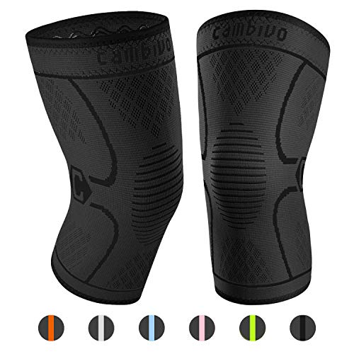 CAMBIVO 2 Pack Knee Brace, Knee Compression Sleeve Support for Running, Arthritis, ACL, Meniscus Tear, Sports, Joint Pain Relief and Injury Recovery (Medium, Black)