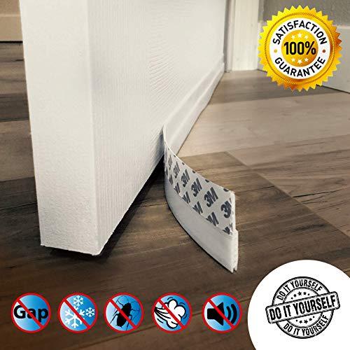 Door Draft Stopper - High Performance Silicone Door Sweep w VHB Adhesive 3M Strip | Draft Blocker for Under Door Seal Gap Interior & Exterior Doors Weather Stripping Soundproof | Draft Guard Insulator