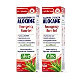 Alocane Emergency Burn Gel 2 Pack, 4% Lidocaine Max Strength Fast Pain Itch Relief for Minor Burns, Sunburn, Kitchen, Radiation, Chemical, First Degree Burns, First Aid Treatment Burn Care 2.5 Fl Oz