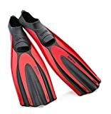 Mares Superchannel Full Foot Scuba Fins, 8/9, Red