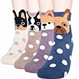 DearMy Womens Cute Design Casual Cotton Crew Socks | Good for Gift Idea| One Size Fits All | Gifts for Women (Dog Puppy 4 Paris)