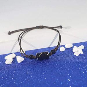 BSLBBZY Punk Bracelet,Punk Ceramics Zodiac Sign Horoscope Black Braided Rope Wrap Charm Adjustable Handmade Casual Personality Black Scorpio Bracelet For Boy Girl Couple Lovers 518Az 2BUCMdL