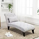Chaise Lounge Button Tufted Sofa Chair Couch for Bedroom or Living Room Gray 2