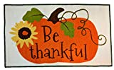 Kane Home Harvest Kitchen Mat, Be Thankful Pumpkin and Sunflower Nylon Accent Rug with Non-Skid Backing for Thanksgiving Decor, 18 x 30 inches Rectangle
