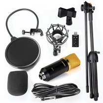 Aokeo-AK-70-Professional-Studio-Live-Stream-Broadcasting-Recording-Condenser-Microphone-with-AK-107-Adjustable-Tripod-Stand-Shock-Mount-Pop-Filter-USB-Sound-Card-and-Mounting-Clamp
