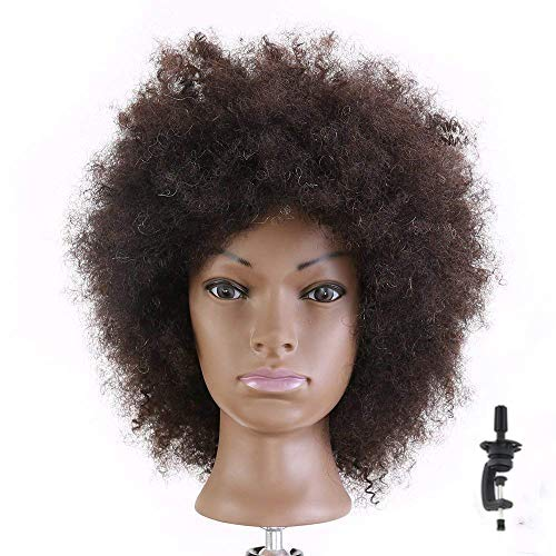 HAIREALM Afro Mannequin Head 100% Human Hair Hairdresser Training Head Manikin Cosmetology Doll (Table Clamp Stand Included)