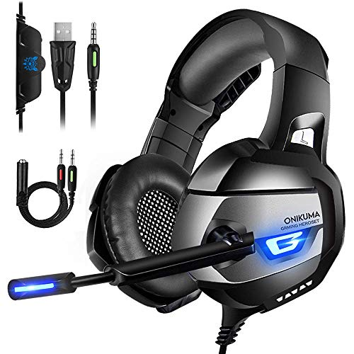 ONIKUMA Gaming Headset for PS4, Xbox One, PC, Gaming Headphones with 7.1 Stereo Surround Sound, Updated Noise Cancelling Mic, PS4 Headset Xbox Headset with Mute & Volume Control for Mac, Laptop, NS