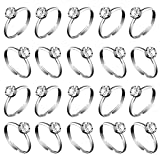 Whaline 36 Pcs Silver Diamond Engagement Rings for Wedding Table Decorations, Party Supply, Favor Accents, Cupcake Toppers (36 Packs)