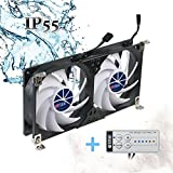 Titan- 12V DC Double Rack Mount Ventilation Cooling Fan for Refrigerator Vent and Ventilation Grille with Speed Controller (90mm) TTC-SC22