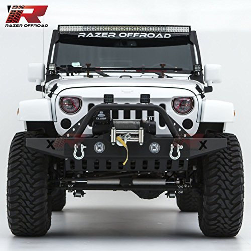 Razer Auto Black Textured Rock Crawler Front Bumper With Skid Plate, Fog Lights Hole & 2x D-Ring & Winch Plate (Black) for 07-18 Jeep Wrangler JK