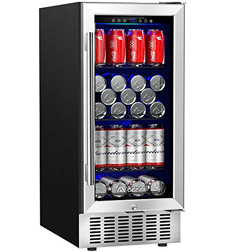 Aobosi 15 Inch Beverage Cooler,94 Cans Freestanding&Built-in Beverage Refrigerator with Advanced Cooling System,Blue Interior Light,Lock Screen Function,Quiet Operation,Idea for Soda,Water, Beer, Wine