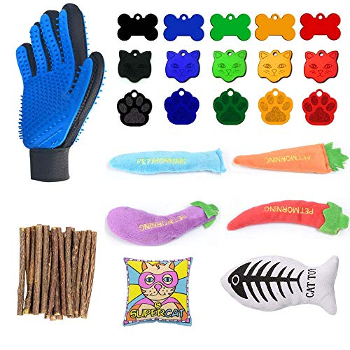 WERTYCITY-Cat-Toys-Kitten-Toys-Assortments-Variety-Catnip-Toy-Set-Including-Catnip-Fish-Chew-Sticks-Double-Side-Pet-Grooming-Glove-Pet-ID-Tags-for-Cat-Puppy-Kitty-Kitten