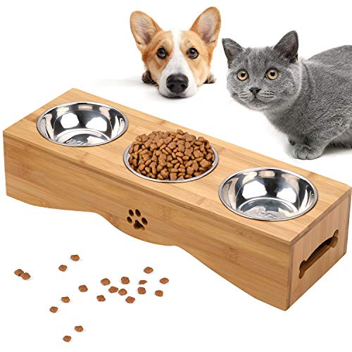 Cat Bowls, Pet Bowl Small Dog and Cat Bowls Stainless Steel Three Bowls Pet Feeder Pet Food Bowl for Cats 1