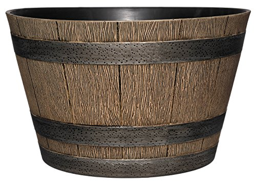 "Classic Home and Garden HD1-1027 DisOak Whiskey Barrel, 20.5"", Distressed Oak"