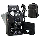 USA GEAR SLR Camera Backpack Case (Black) - 15.6 inch Laptop Compartment, Padded Custom Dividers, Tripod Holder, Rain Cover, Long-Lasting Durability and Storage Pockets - Compatible with Many DSLRs