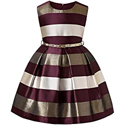 LLQKJOH Cotton Dresses for Girls Girls Outfits Kids Party Dress Little Girls Dresses Girls Occasion Dresses for Kids (Burgundy,6)