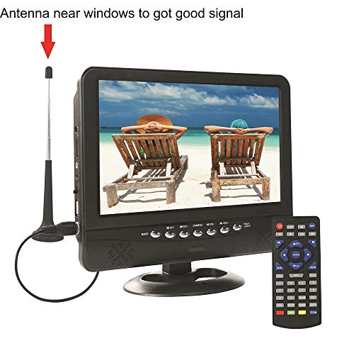 GJY 9.5-Inch Portable Widescreen TV, Built in Digital Tuner+NTSC,USB/TF Card Slot/Headphone Inputs,with Detachable Antennas,Automotive Mobile TV,Full Function Remote,Removable Bracket