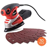 Hi-Spec 200W Palm Detail Orbital Mouse Sander with Dust Collector & 10pc Sanding Pad Kit for Removing Paint, Varnish, Stains, Preparing Furniture, Polishing, Smoothing Out & Sanding Down Wood