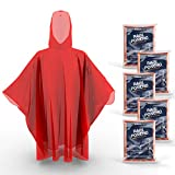 Hagon PRO Disposable Rain Ponchos for Adults (5 Pack) Premium Quality 50% Thicker – 100% Waterproof Emergency Rain Ponchos with Hood – for Concerts, Amusement Parks, Camping (Red 5 Pack)