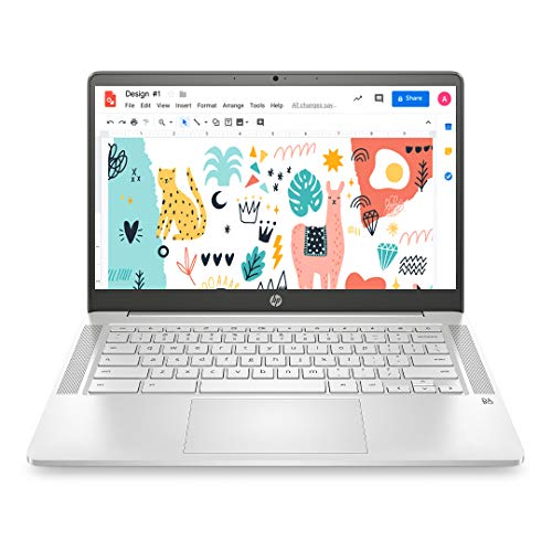 Best Laptop Under 40000 – HP Chromebook 14a-na0003TU 14-inch (35.56 cms) Thin & Light Touchscreen Laptop (Intel N4020/4GB/64GB SSD + 256GB Expandable/Chrome OS/1.46 kgs Light), Mineral Silver