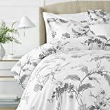 Pinzon Signature 190-Gram Cotton Heavyweight Velvet Flannel Duvet Set - Full/Queen, Floral Graphite