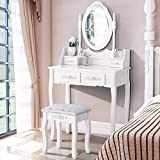 Product review for Elegance Vanity Makeup Table Set 4 Strawers Dressing Table with Stool ,White