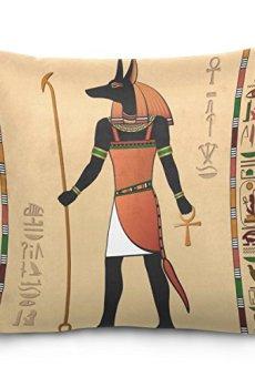 ZOEO 18×18 Square Throw Pillow Case Cover,Ancient Egyptian Mummy Pharaoh Sun God,Soft Cushion Pillowcase