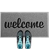 ANKO PVC Super Absorbent Outdoor Welcome MAT(30x18 inches) - Non-Slip Net Backing, Heavy Duty, Waterproof, Easy Clean, Low Profile Mat for Entry, Dust Trapper, Eco-Friendly