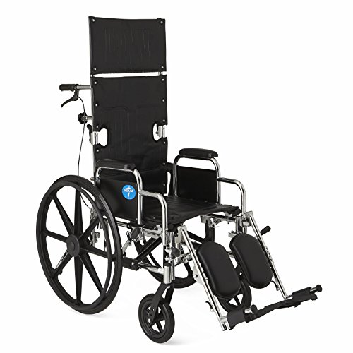 Medline Reclining Wheelchair, Wide Seat, Desk Length Arms, Elevating Legrests, Chrome Frame Seat 17 X 20 inches,