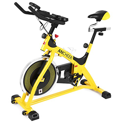 ANCHEER Stationary Bike, Belt Drive Indoor Cycling Exercise Bike 40 LBS Flywheel (Yellow_Pulse)
