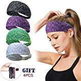 Women Men Sport Workout Headband Non Slip Lightweight Soft Wicking Stretchy Multi Style Bandana Head Wrap Ideal for Yoga/Pilates/Dancing/Running/Cycling/Fitness Exercise/Travel (Style 4 (4 Pcs))