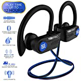 Latest 2020 Bluetooth 5.0 Headphones w/12+ Hours - QCC3003 Chipset - Sport Lightweight Wireless Earphones w/Noise Cancelling Mic - Bass, IPX7 Waterproof in-Ear Earbuds for Gym, Running, Workout