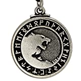 Pewter Odin's Wolves Norse Rune Wolf Pendant