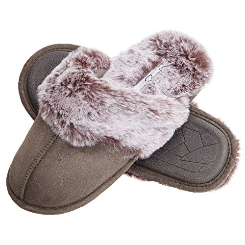 Jessica Simpson Comfy Faux Fur Womens House Slipper Scuff Memory Foam Slip On Anti-Skid Sole (Size Large, Grey)