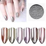 Micup Nail Chrome Powder - 2box Silver Mirror Holographic Glitter Nail Powder Manicure Pigment 1g/box