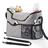 Budget & Good Stroller Organizer Bag - Universal Diaper Bag Baby Stroller Caddy Insert Organizer Messenger Bag Nappy Bags with Cup Holder Large Space for Baby Care Phone Toys Wallet, Gray